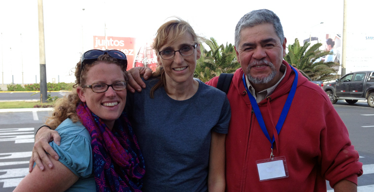 Kathy Derleth, center, with Tracy Altuna, left, and Altuna's husband, Jesus, right, in Peru.