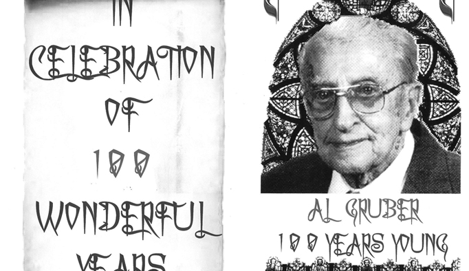 The card used to invite people to Al Gruber's 100th birthday.