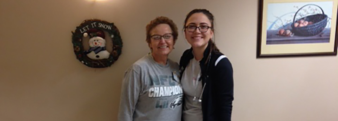 Hailey Mullen, right, with Jean Wassel