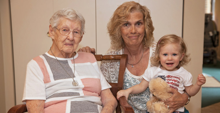 Mae Gerhart with her daughter, Renee Neiman, and her one-year-old great-granddaughter.