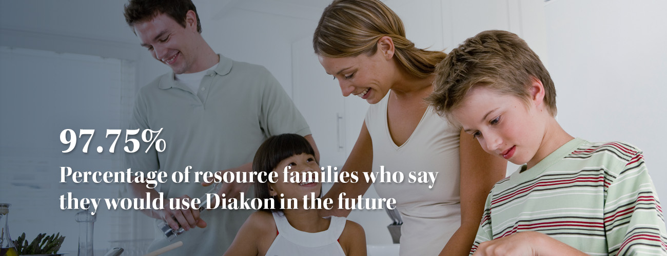 family photo with overlaid text that reads - 97.75% percentage of resource families who say they would use Diakon in the future