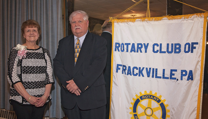 Elaine Mykolayko with Judge John Domalakes, member of the Frackville Rotary Club and master of ceremonies for the awards program.