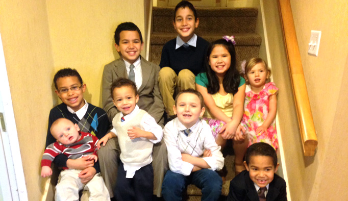 The Bryce children pose for a 2014 photograph.